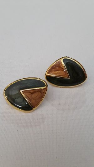Vintage enameled clip on earrings gold tone green and brown for Sale in Tulsa, OK