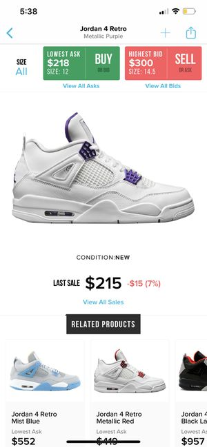 Air Jordan's Metallic purple 4's size 9.5 men's for Sale in Covina, CA