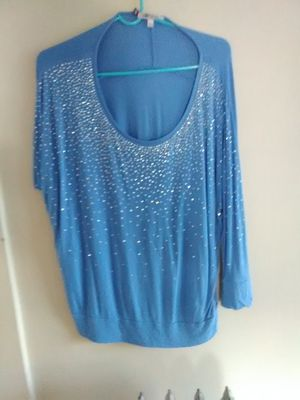 Jennifer Lopez JLO Light Blue Sparkling Off the Shoulder Tunic Top Size L Large for Sale in Lowell, MA