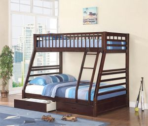 Twin over Full Bunk Bed with 2 Drawers , Espresso Color, SKU 7588-ESP for Sale in Garden Grove, CA