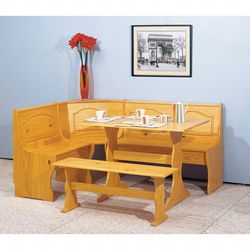 NEW Breakfast Nook Table Set 3 Piece Dining in Pine Finish for Sale in Seattle,  WA