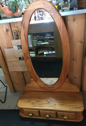 Solid Oak Dresser Top with Mirror for Sale in Redmond, OR