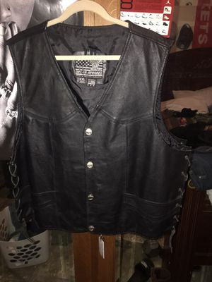 Motorcycle vest real black leather for Sale in Houston, TX