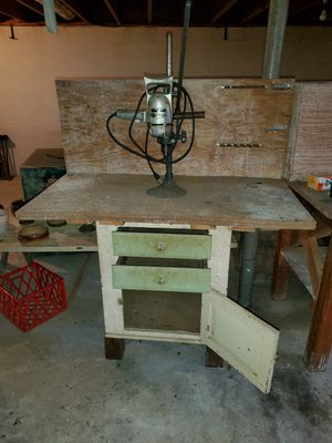 Drill press, hand-made table with drawers, various hardware fasteners and anchors for Sale in Reading, PA