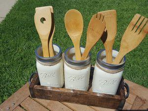3 Mason Jar utensil holder for Sale in Sanger, CA