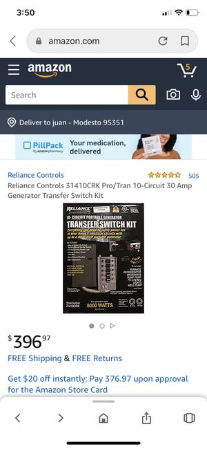 Reliance generator transfer switch kit for Sale in CA, US