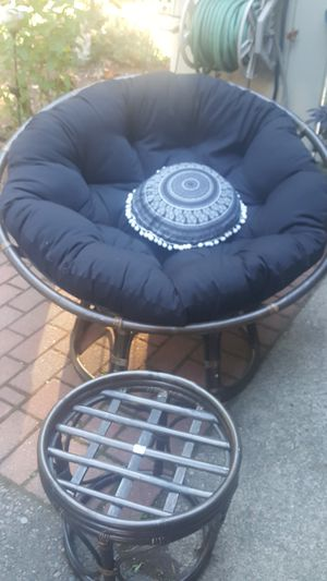 Papasan chair and foot stool Pending pick up for Sale in Tumwater, WA