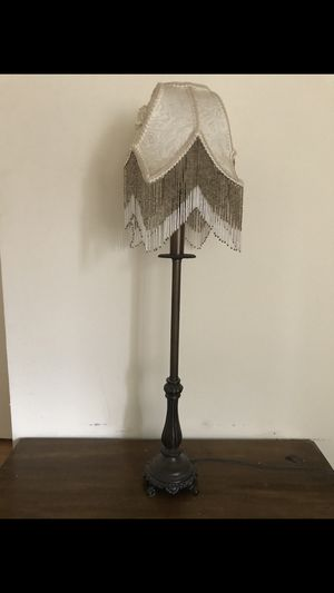 Vintage Table Lamp With Beading Fringe Cover for Sale for sale  New York, NY
