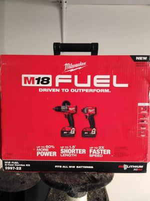 Milwaukee M18 FUEL 18-Volt Lithium-Ion Brushless Cordless Hammer Drill and Impact Driver Combo Kit (2-Tool) with Two 5Ah Batteries. BRAND NEW!!! for Sale in Los Angeles, CA