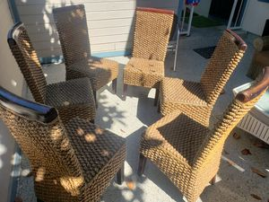 6 wicker / rattan dining / kitchen chairs - World Market for Sale in Long Beach, CA