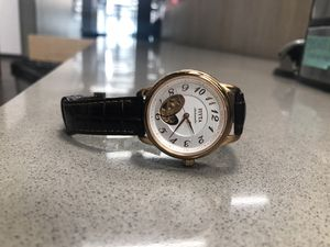 Fiyta watch, brown leather, new, red diamond for Sale in Salt Lake City, UT