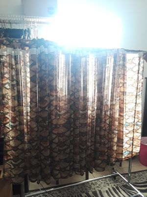 4 Asian Fan Inspired Sheer Curtain Panels 55in W x 42in L for Sale in El Cajon, CA
