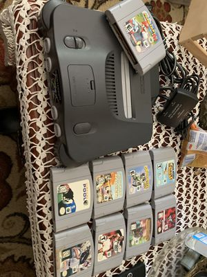 Nintendo 64 Game System with 4 controllers with 9 games all games shown for Sale in San Bernardino, CA