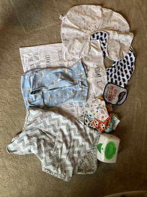 Baby stuff - milestone blanket, car seat canopy, swaddle, wipe warmer, bibs/bandana, body cover for Sale in Lacey, WA