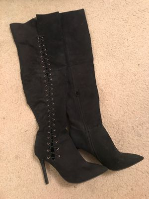 Women's thigh-high black suede lace up boots for Sale in San Diego, CA