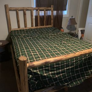 Full Size Log Bed Frame Mattress And Box Spring for Sale in Molalla, OR