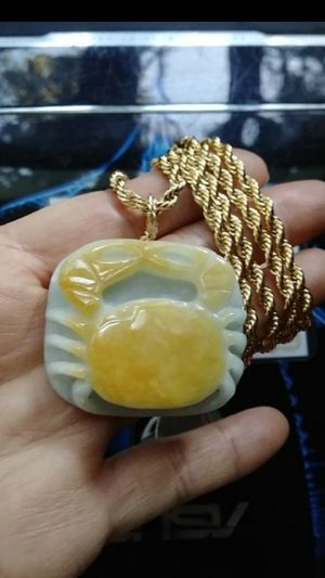 "Lucky Certified rarely green yellow jade jadeist crab carved pendant 14k Italy gold plated rope chain 24"" 4mm for Sale in Richmond, CA"
