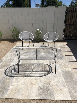CB2 Modern Outdoor Furniture: Love Seat & Two Chairs for Sale in Phoenix, AZ
