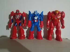 "12"" Marvel Spiderman, Ironman & Captain America for Sale in Shorewood, IL"
