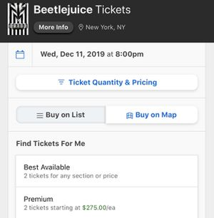 3 tickets beetlejuice broadway tonight for Sale in Brooklyn, NY