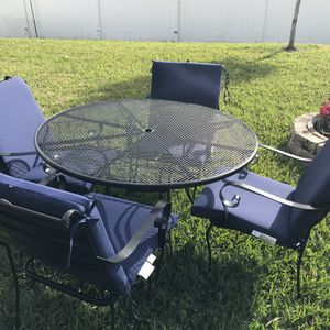 Patio Table Wrought Iron And Chairs with Cushions for Sale in Orlando, FL