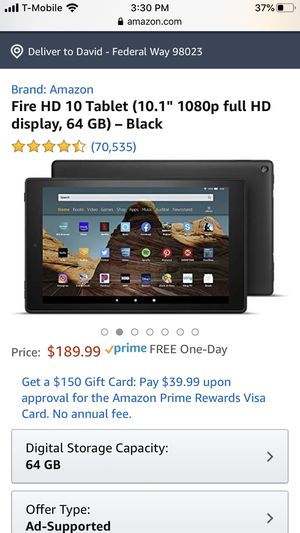 Fire hd 10 tablet like new condition used once for Sale in Federal Way, WA