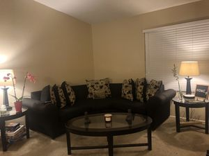 Black Couch with Tables and Lamps for Sale in Guadalupe, AZ