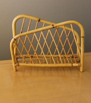Mid Century Geometric BAMBOO Magazine Rack for Sale in Flower Mound, TX