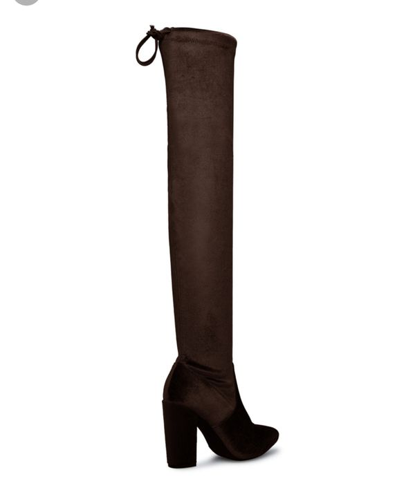 Women Brand new never worn brown suede chunky thigh high boots Size 8.5