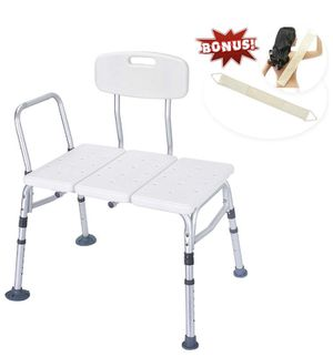 Health Line Tool-Free 400 lbs Transfer Bench, Deluxe Tub Adjustable Shower Bath Chair, w/Reversible Back and Non-Slip Feet, Great for Elderly, Disabl for Sale in Los Angeles, CA