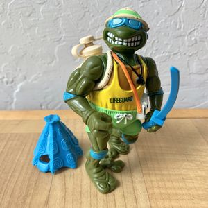Vintage 1992 Teenage Mutant Ninja Turtles Sewer Spitting Life Guard Leo, Leonardo TMNT Action Figure Collectable Toy with 2 Accessories for Sale in Elizabethtown, PA