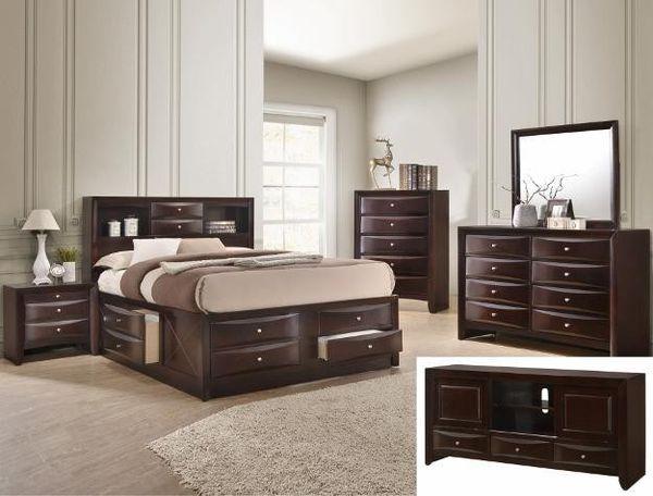SPECIAL]Emily Dark Cherry Stjsjorage Platform Bedroom Set