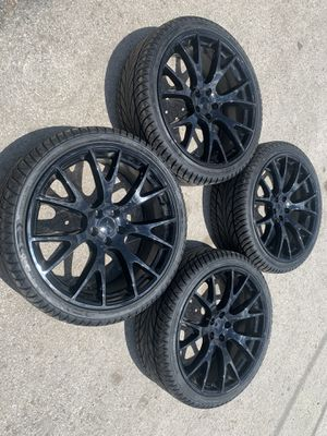 """New 22 black hell Replica Rims and new Tires 22"""" Dodge Charger Challenger Replicas Wheels 22s Rines y Llantas Oem factory's factory original Take off for Sale in Dallas, TX"""
