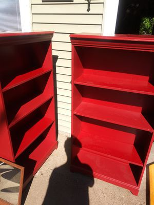 Pair of red bookshelves for Sale in Lino Lakes, MN
