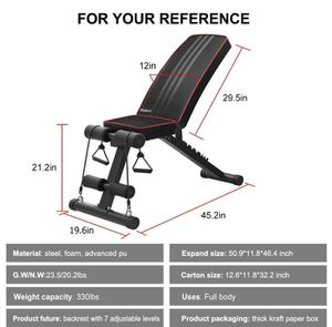 Adjustable foldaway weight bench for Sale in US