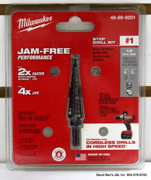 Milwaukee #1 1/8 in. - 1/2 in. x 1/32 in. Black Oxide Step Drill Bit - NEW for Sale in Margate, FL