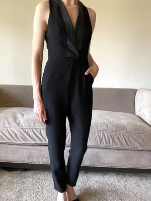 BCBGeneration jumpsuit black tuxedo leather v-neck for Sale in Castro Valley, CA