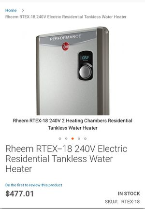 Rheem RTEX - 18 240V Electric Residential Tankless Water Heater for Sale in Los Angeles, CA