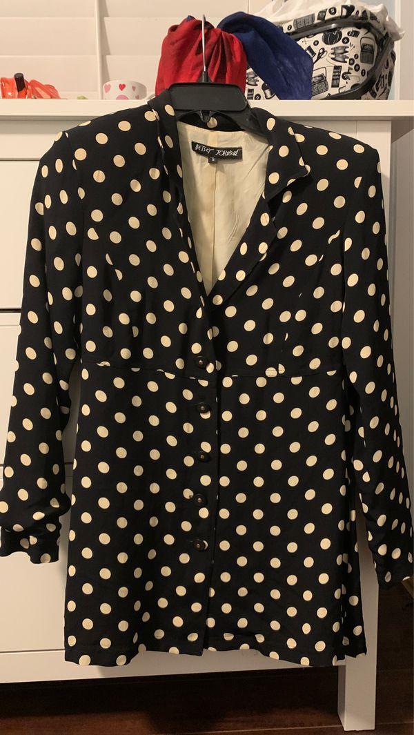 Betsey Johnson Polka Dot Shirt/Coat