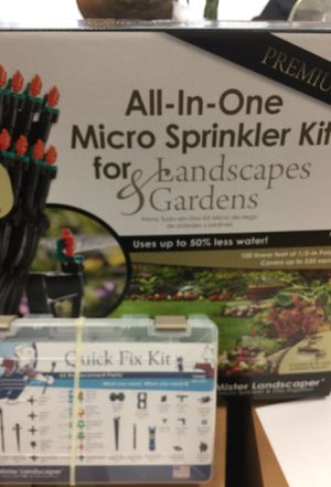 Mister Landscaper All-In-One Micro Sprinkler & Drip Irrigation for Landscapes & Gardens & Quick Fix Kit for Sale in Davidson, NC
