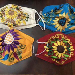 Adult Sun Flower Embroidered Face Mask for Sale in Glendale, AZ