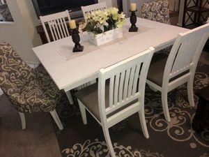 Dining table dinner table kitchen table dinning set farmhouse seats 6 six chairs off white wood for Sale in Phoenix, AZ