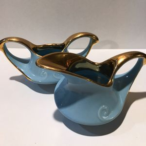 Vintage art deco creamer, sugar and spoon porcelain with heavy gold design for Sale in Tampa, FL