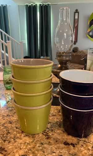 "LOT OF 7 planting pots 4"" high -green and cobalt blue for Sale in Las Vegas, NV"