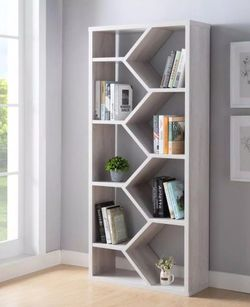 White Oak Bookcase with Geometric Design for Sale in Ontario,  CA