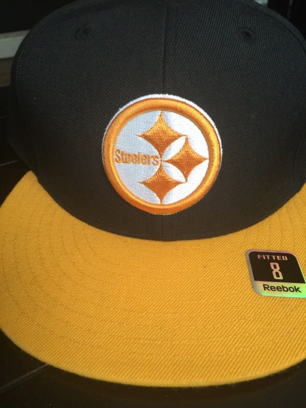 Men's Reebok NFL Pittsburgh Steelers Fitted Cap/Hat Black Yellow Size 8