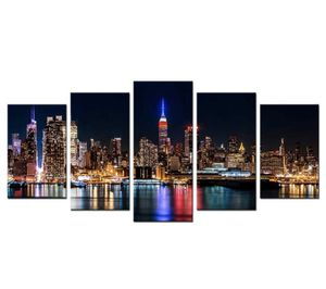 New York Cityscape Canvas Wall Art Home Decor Office Bedroom Living Room Manhattan at Night 5 Panels for Sale in Sacramento, CA