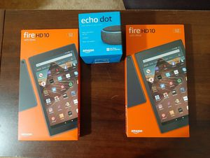 Amazon fire hd 10 tablet with alexa, echo dot new , factory sealed for Sale in Pontiac, MI