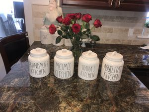 Rae Dunn Canister Set. Too cute ! 4 Chubby Long Letter Canisters! for Sale in Sanger, CA