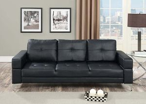 Black plush leatherette futon for Sale in Fresno, CA